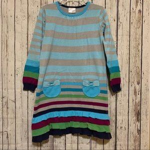 Hanna Andersson Striped Sweater Dress w/ Ruffles